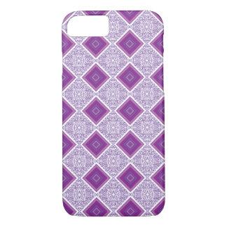 Coque iPhone 7 Conception pourpre géométrique et de diamant - cas