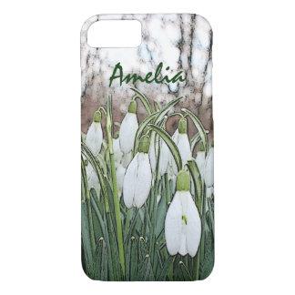 Coque iPhone 7 Copie de fleur blanche, perce-neiges de ressort