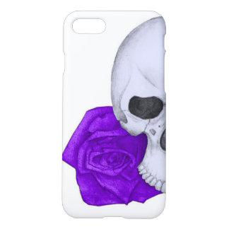 Coque iPhone 7 Crâne et roses pourpres