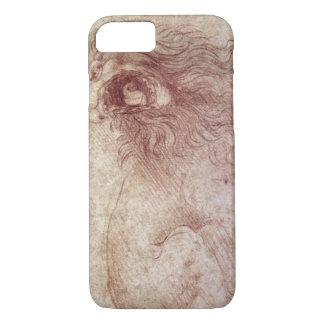 Coque iPhone 7 Croquis d'un lion d'hurlement (craie rouge sur le