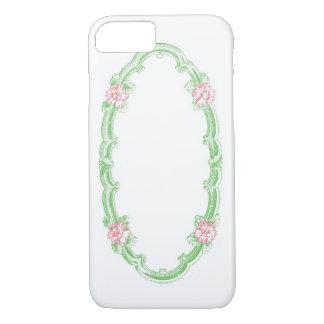 Coque iPhone 7 * Customisez-le ! * Cadre ovale floral vintage
