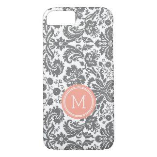 Coque iPhone 7 Damassé de corail grise de monogramme fait sur