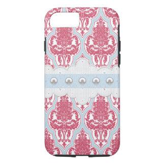 Coque iPhone 7 Damassé rose et bleue chic minable