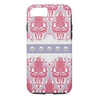 Coque iPhone 7 Damassé rose et pourpre chic minable