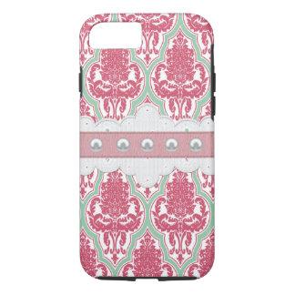 Coque iPhone 7 Damassé rose et turquoise chic minable