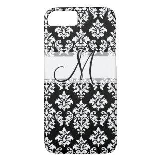 Coque iPhone 7 Damassé vintage blanche noire Girly votre