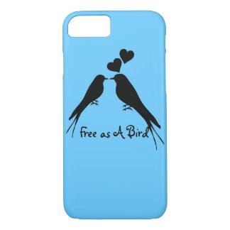 Coque iPhone 7 Dessin de silhouette de deux oiseaux dans l'amour