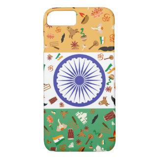 Coque iPhone 7 Drapeau de l'Inde avec les articles culturels