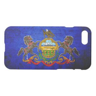 Coque iPhone 7 Drapeau grunge noir d'état de la Pennsylvanie