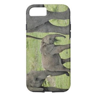 Coque iPhone 7 Éléphant africain femelle avec le bébé, Loxodonta