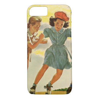 Coque iPhone 7 Enfants vintages, patinage de rouleau d'amusement