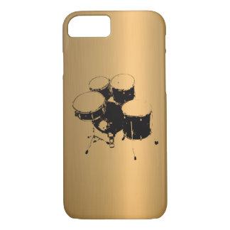 Coque iPhone 7 Ensemble d'effet de cuivre en bronze de tambours