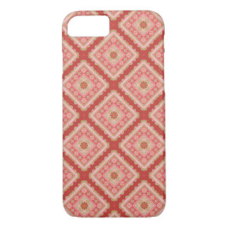 Coque iPhone 7 Espagnol Tile - flowers and stripes_coral