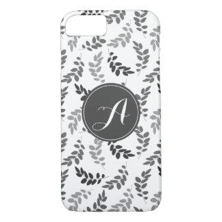Coque iPhone 7 Feuille gris et blanc avec le monogramme fait sur