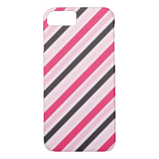Coque iPhone 7 Filets diagonaux roses Girly