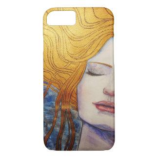 Coque iPhone 7 fille avec des cheveux d'or
