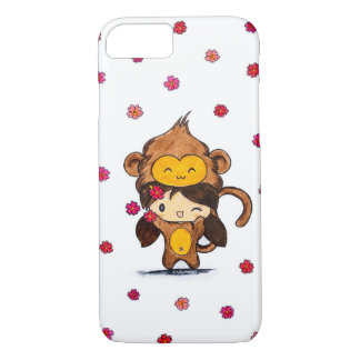Coque iPhone 7 Fille mignonne de singe de Kawaii