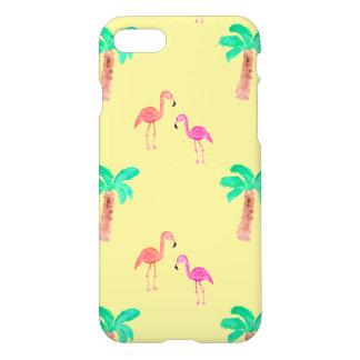 Coque iPhone 7 Flamants roses avec les palmiers tropicaux
