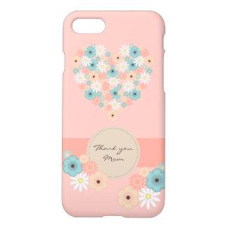 Coque iPhone 7 Fleurs en forme de coeur pour dire la maman de