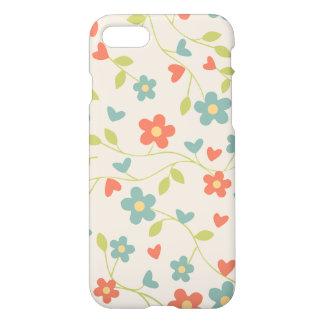 Coque iPhone 7 Fleurs et motif floraux vintages mignons de coeurs