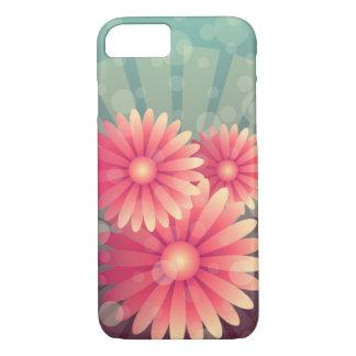 Coque iPhone 7 Fleurs roses et cercles bleus
