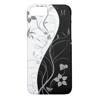 Coque iPhone 7 Floral moderne de monogramme blanc noir