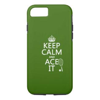 Coque iPhone 7 Gardez le calme et Ace le (le tennis) (dans toute