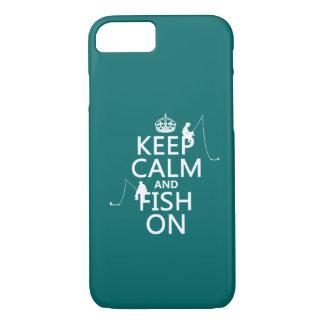 Coque iPhone 7 Gardez le calme et pêchez dessus - les couleurs