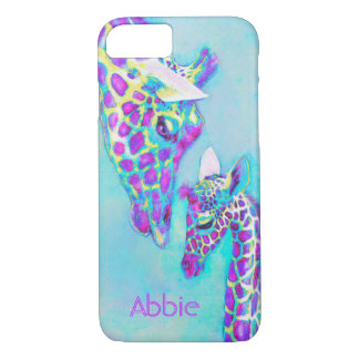 Coque iPhone 7 girafes-moma et bébé pourpres
