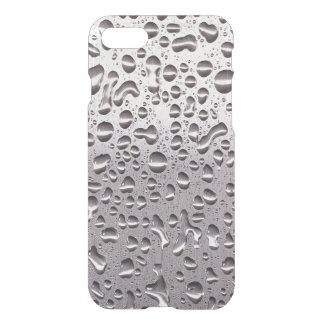 Coque iPhone 7 Gouttes de pluie fraîches sur le motif d'acier