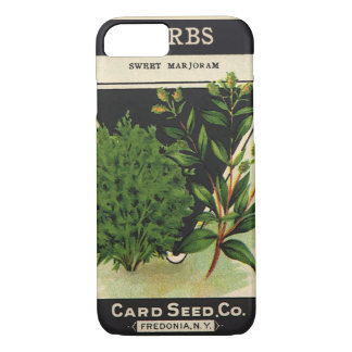 Coque iPhone 7 Herbes vintages de marjolaine douce d'art