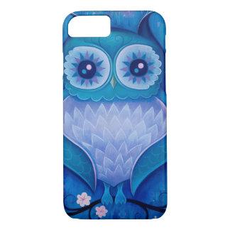 Coque iPhone 7 hibou bleu