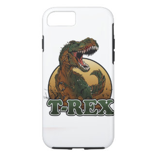 Coque iPhone 7 illustration brune et verte de t-rex