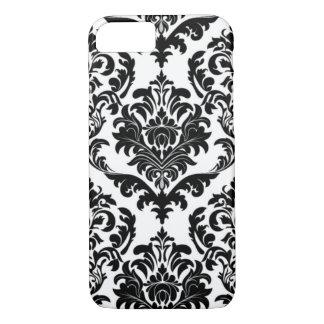 Coque iPhone 7 iPhone conception noire et blanche de 7 de damassé