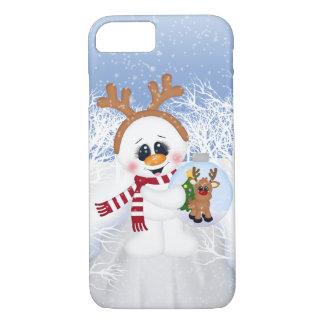 Coque iPhone 7 iPhone de fête de vacances de bonhomme de neige de