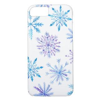 Coque iPhone 7 iPhone de flocons de neige d'aquarelle à peine là