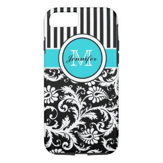 Coque iPhone 7 iPhone rayé blanc 5 de damassé de noir d'Aqua de
