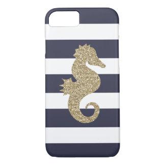 Coque iPhone 7 La marine et le blanc d'hippocampe d'or barre la