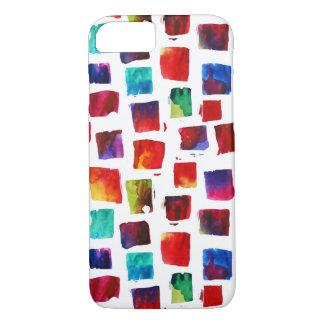 Coque iPhone 7 L'aquarelle abstraite ajuste le motif géométrique