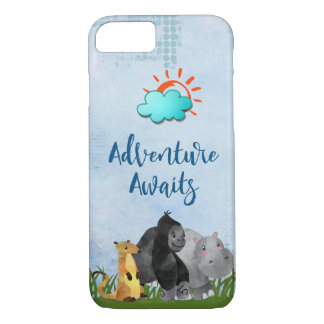 Coque iPhone 7 L'aventure attend l'animal de jungle de safari