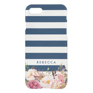 Coque iPhone 7 Le bleu marine barre Girly floral élégant de  