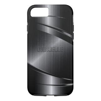 Coque iPhone 7 Le noir métallique de Monogramed a balayé le