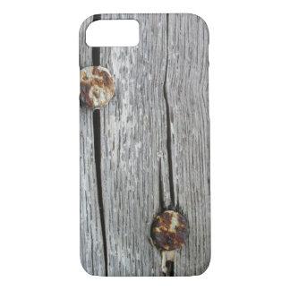 Coque iPhone 7 les clous sur le vieil iPhone en bois 7 d'arts