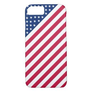 Coque iPhone 7 Les rayures blanches bleues rouges de drapeau des