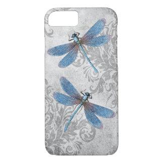 Coque iPhone 7 Libellules grunges vintages de damassé