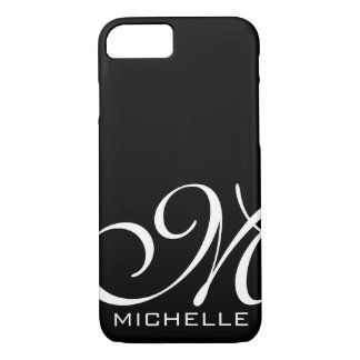 Coque iPhone 7 Manuscrit blanc noir décoré d'un monogramme
