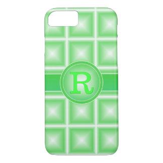 Coque iPhone 7 Monogramme de Starlight 3D de vert de ressort de