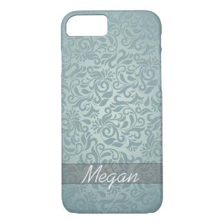 Coque iPhone 7 Monogramme gris/vert élégant de damassé