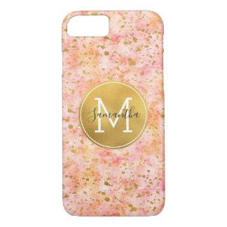 Coque iPhone 7 Monogramme rose Girly de confettis d'aquarelle