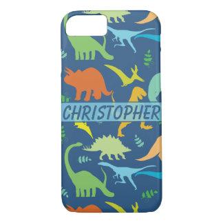 Coque iPhone 7 Motif coloré de dinosaure à personnaliser